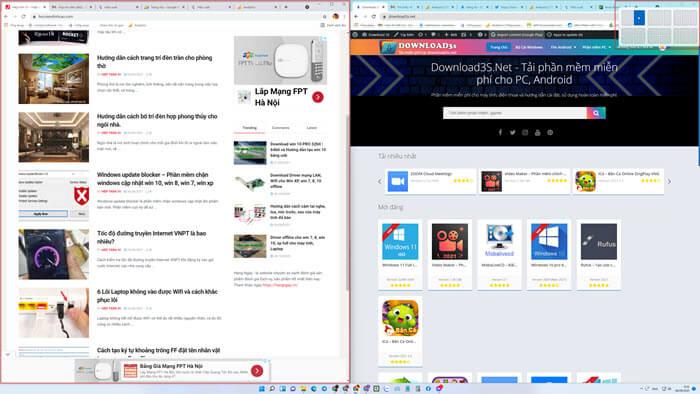 Dùng nhiều trình duyệt cùng màn hình trên windows 11