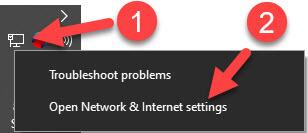 Open Network & Internet settings
